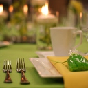 Lime linen with white plates and yellow napkins.