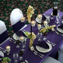 Our Tuscan inspired table, with deep purples and light greens.