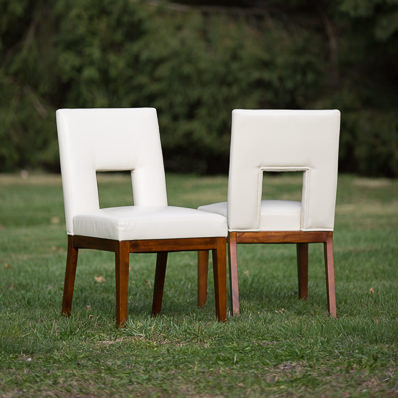 White Leather Sweetheart Chairs